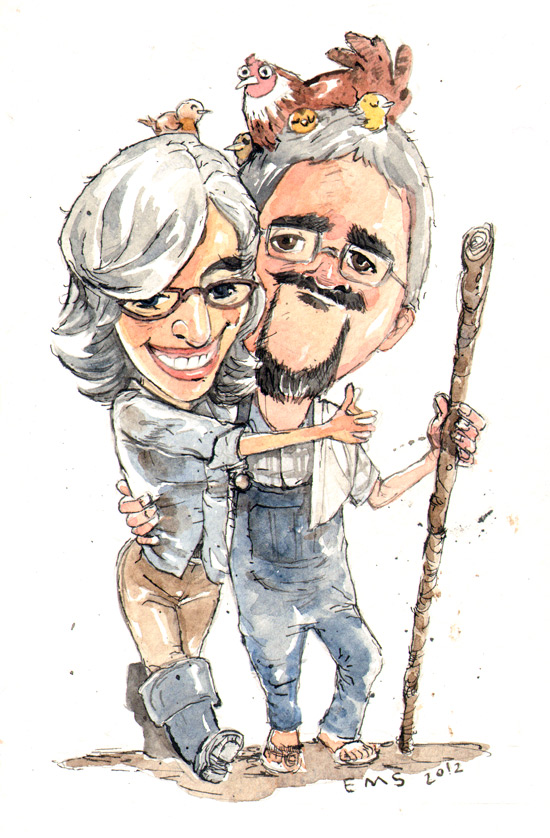 watercolor and pen sketch of my pals Ed and Hilary on their farm.